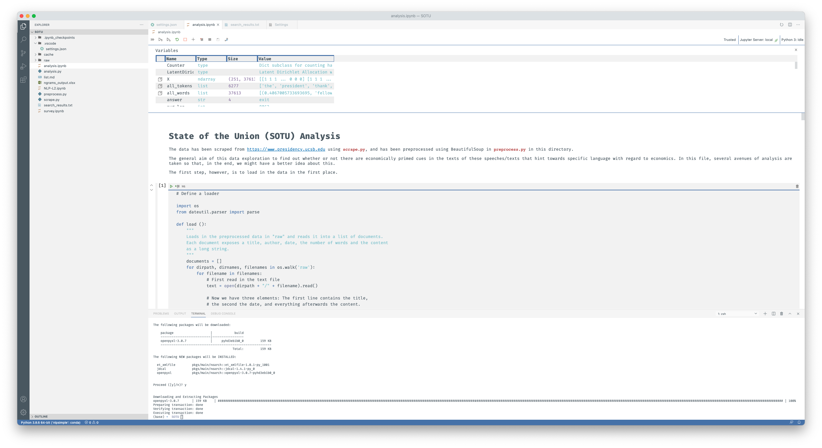 VS Code open with an analysis inside a Jupyter notebook I am currently running on the U.S. States of the Union (SOTU)