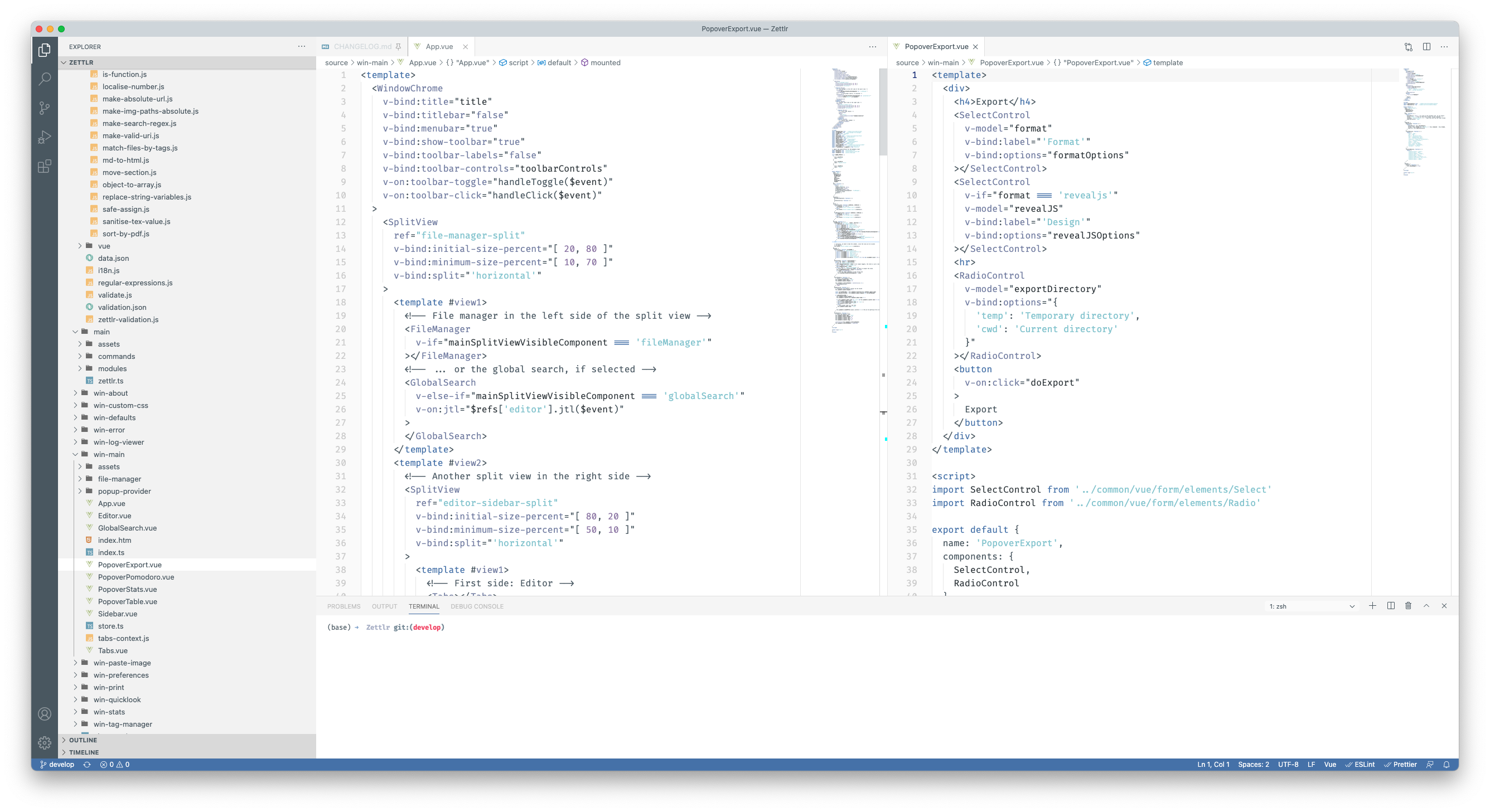 VS Code open with Zettlr's repository loaded