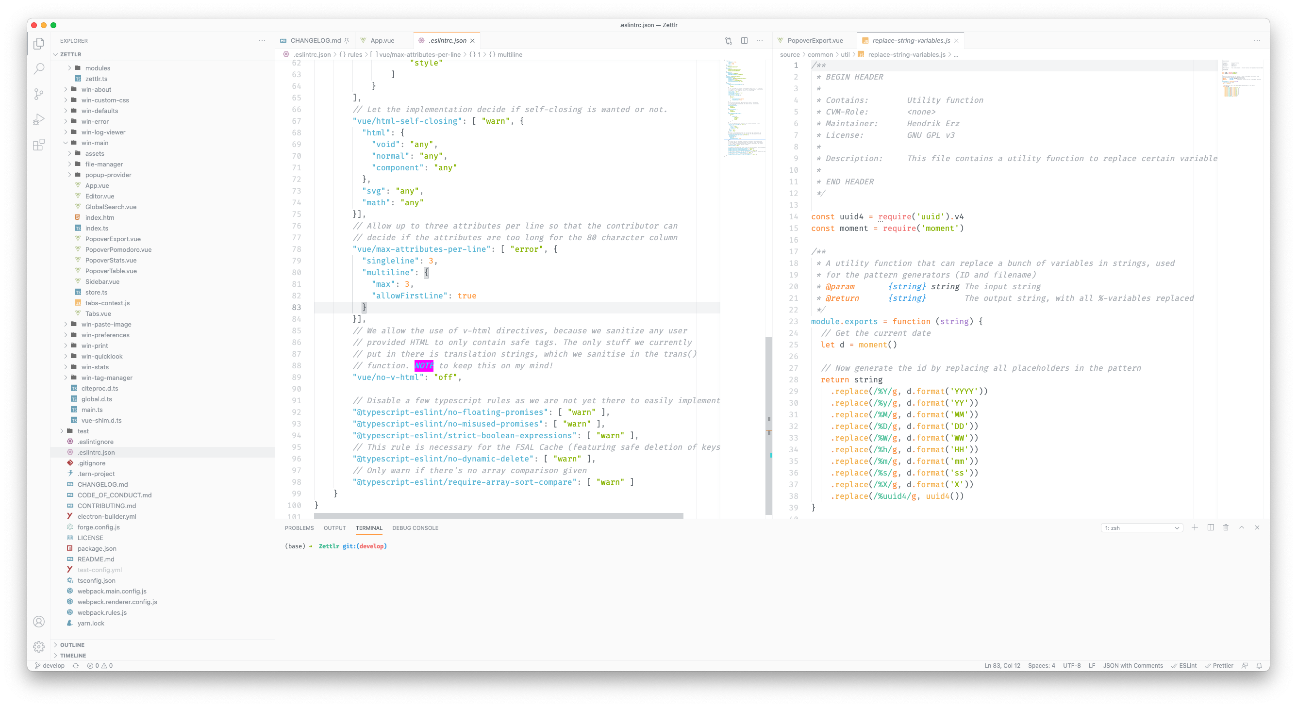 In this screenshot you can see several components of VS Code at work. Take note especially of the highlighted NOTE keyword, which is being done using the TODO Highlight plugin, elaborated upon further below. VS Code also respects various configuration files.