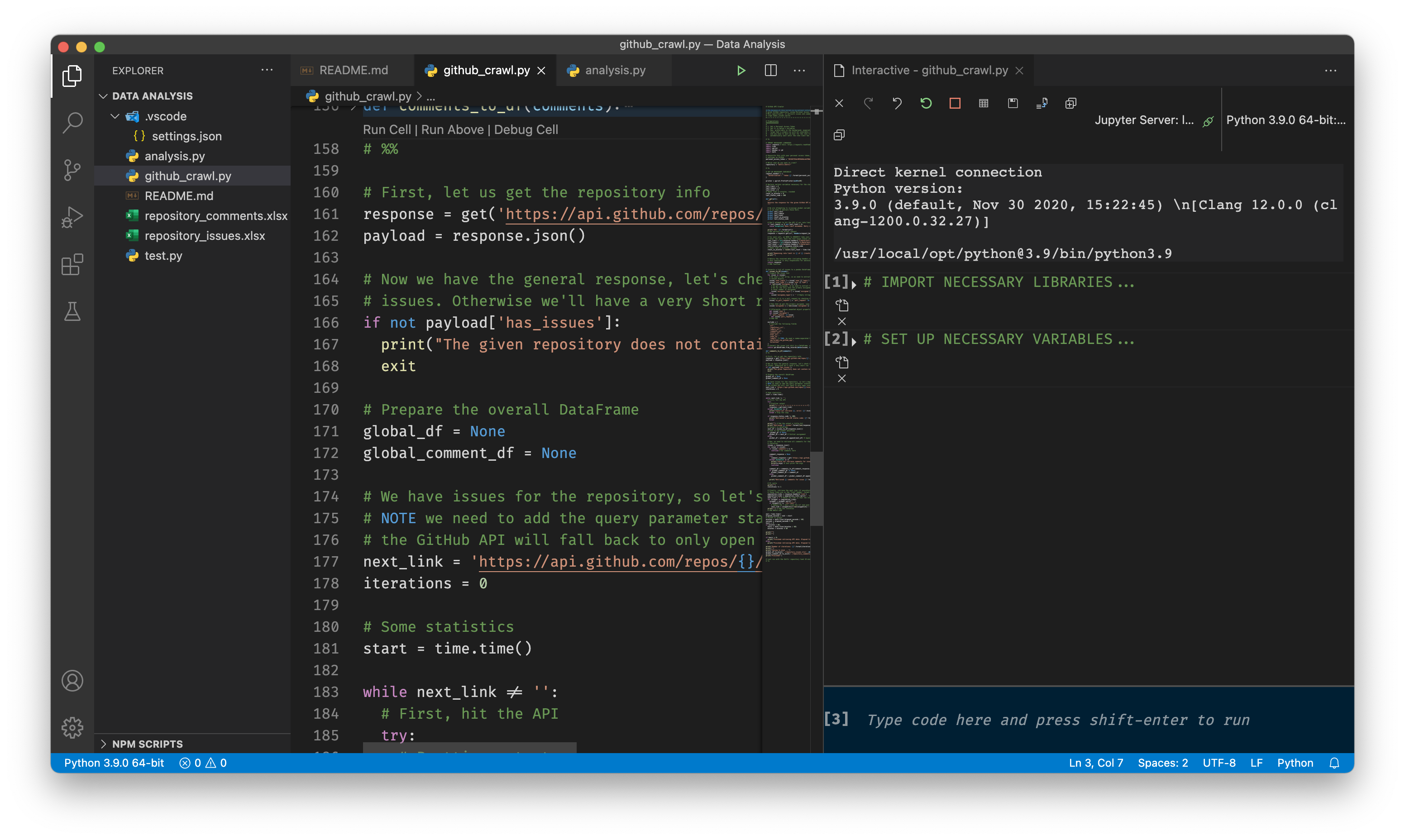 A view at VS Code with the Jupyter extension and a file loaded